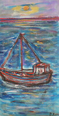 Vintage fauvist seascape ship oil painting signed
