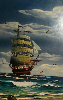 Vintage oil painting seascape ship