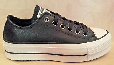 901 Converse Scarpa/Shoes Chuck Taylor All Star Lift Ox Leather  Black 565899C