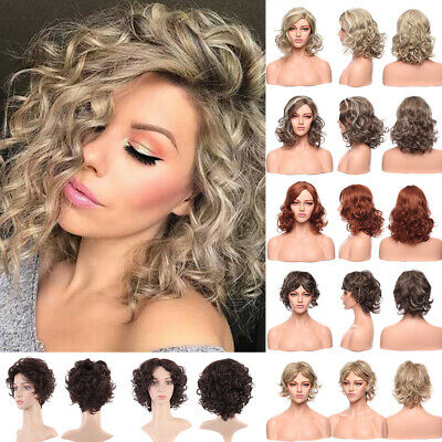 Natural Short Bob Curly Wavy Full Wig Ombre Hair Cosplay Halloween Wigs Blonde A