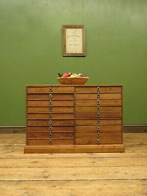 Pine Bank of Drawers, Collectors Drawers, Workshop, Factory or Crafting Drawers