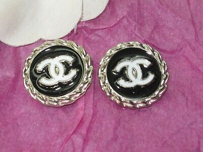 CHANEL  2 CC  LOGO  SILVER  BLACK WHITE 20mm BUTTONS THIS IS FOR TWO
