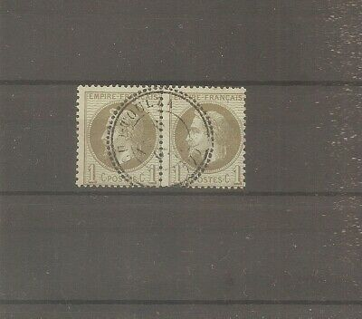 Timbre France Frankreich 1870 Paire N°25 Oblitere Used Cachet Date Perle Type 24