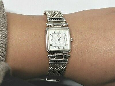 Rare ECCLISSI 31220 Sterling Silver Square Face Woven Band Women's Watch 925