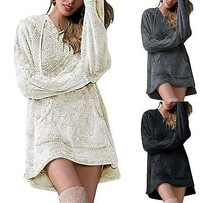 Women Hooded Teddy Bear Fluffy Mini Dress Lady Hippie Long Sleeve Hoodie Jumper