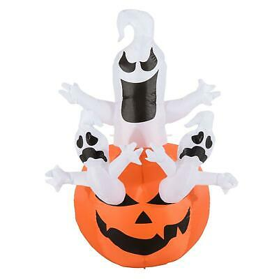 HOMCOM 6' Outdoor Inflatable Halloween Decoration - Jack-O-Lantern with Ghosts