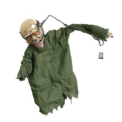 Halloween Haunters Animated Hanging Scary Mangled Barbwire Reaper Zombie Torso