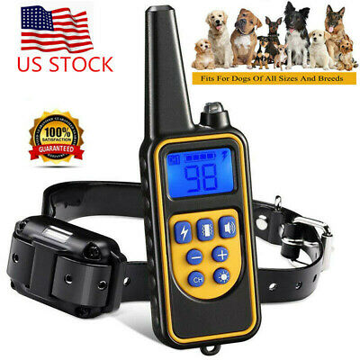 Waterproof 875 Yard Pet Dog Training Collar Electric Shock Rechargeable Remote G
