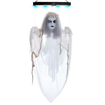 Halloween Haunters Animated 4 Foot Hanging Floating Scary White Ghost Lady Prop