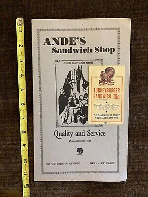 Vintage Menu From Ande's Sandwich Shop & Diner - Berkeley Ca On University Ave