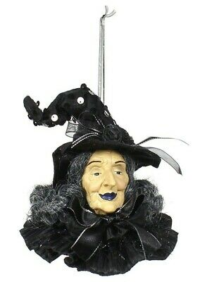 """Halloween Large Creepy Old Black Witch Head Hanging Ornament  or Table  Decor 6"""""""