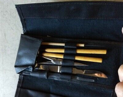 Vintage Denver Co. Clay Sculpture Tool kit with black leather snap case