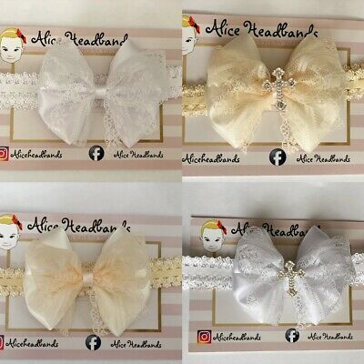 Baby Girl White or Ivory Christening Headband Baptism Wedding Bow Cross Hairband
