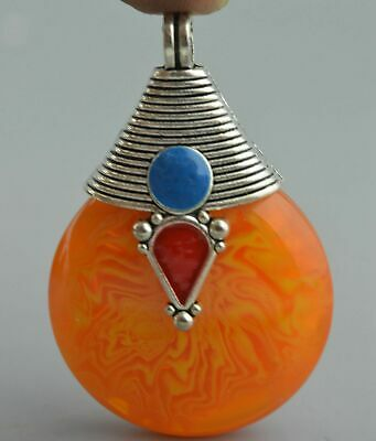 Ancient Collectable Decorative Miao Silver Carve Totem Inlay Amber Lucky Pendant