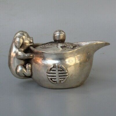 Collection Handwork Tibet Old Miao Silver Carve Cute Pig Hug Ingot Noble Tea Pot