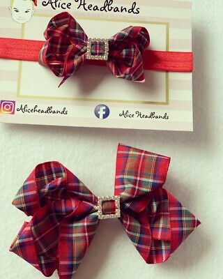 Red Tartan Ribbon Bow Diamante Baby Headbands 3inch or 5inch Christmas Band+ Lot