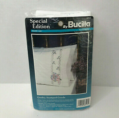 Special Edition by Bucilla Violet Bloom Flowers Embroidery Pillow Case 63113