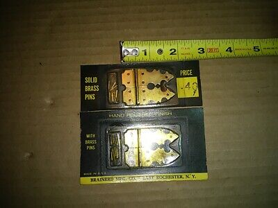 2 Pair VINTAGE Solid Brass Jewelry Box Chest Door / Lid Hinges Small NOS New