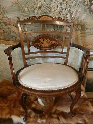 Antique Edwardian Inlaid Mahogany Occasional Bedroom Armchair Chair