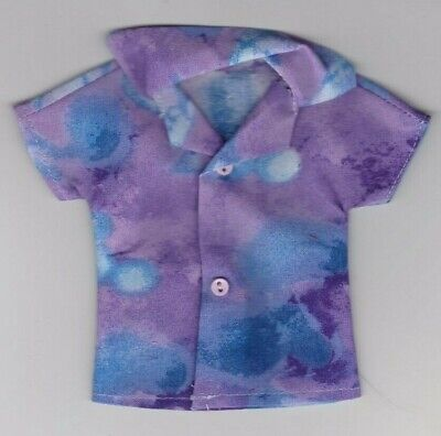 Homemade Doll Clothes-Lavender and White Print Shirt fits Ken Doll B7