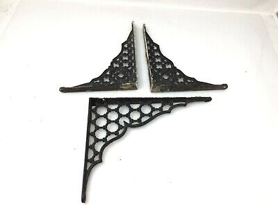 "Vintage Cast Iron Shelf Brackets Ornamental 8"" 9"" Brace Rustic Decor"