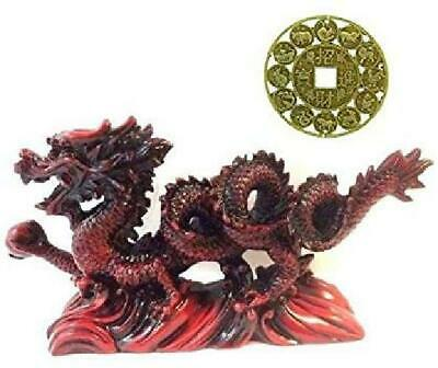 NEW RED Chinese Feng Shui Dragon Figurine Statue for Luck  Success 6 inch LONG