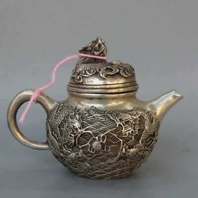 Ancient Collectable Handwork old Miao Silver Carve Exorcism Dragon Lucky Tea Pot