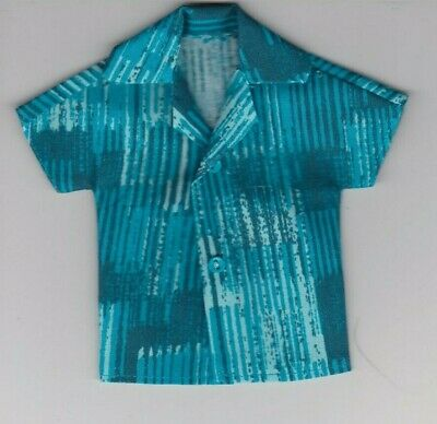 Homemade Doll Clothes-Awesome Red and Blue Print Shirt that fits Ken Doll B5