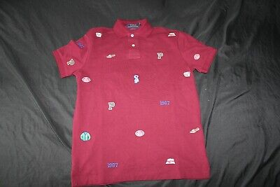 POLO Ralph Lauren Custom Slim Fit Mens patches, Size Small Red