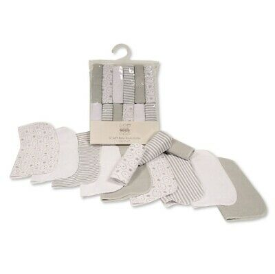 12 Pack of Soft Baby Wash Cloths Grey Clouds Nursery Time ~ Shower Gift ~ Unisex