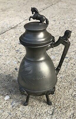 VICTORIAN Syrup PITCHER Metal With Heads & Full Horse Lid
