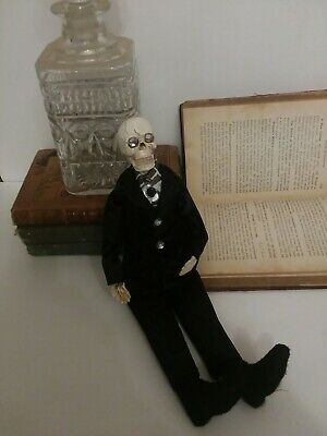 Mexican Day of the Dead Dolls, Catrina, Black Male Skeleton with poseable arms