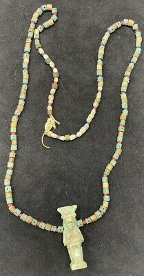 Ancient Egyptian Faience Bead Necklace with Seated Isis & Horus Amulet