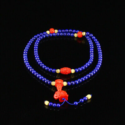 Chinese Natural Lapis Lazuli & Red Cinnabar Beads Necklace w Certificate
