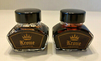 2 Partial Bottles 30ml  KRONE Fountain Pen Calligraphy Ink  1/2 Black  3/4 Red?