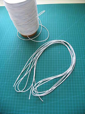 10 meters of 2 mm round elastic  white               Over 200 meter available