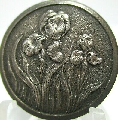 """1940s French White """"IRIS FLOWERS"""" 1""""+ Vintage Antique Metal Picture Button"""