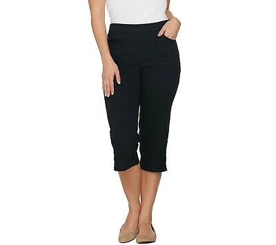 Denim & Co. Pull-on Stretch Capri Pants with Crochet Detail Black Size 12 QVC