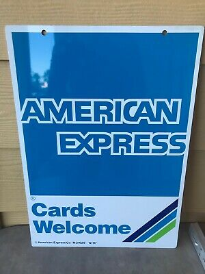 ~NOS~ AMEX American Express Credit Card METAL 2 Sided POLE Sign with Mounting