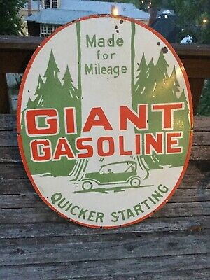 Large Giant Gasoline Double Sided Porcelain Sign