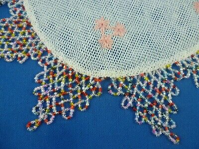 Antique Multi Colored Glass Beaded Jug Cover  With Embroidered Net Centre