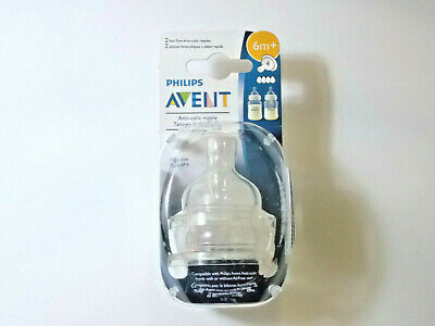 Philips Avent Baby Bottle Nipple, Fast Flow Anti-Colic Nipples 6M+, 2pk BPA Free