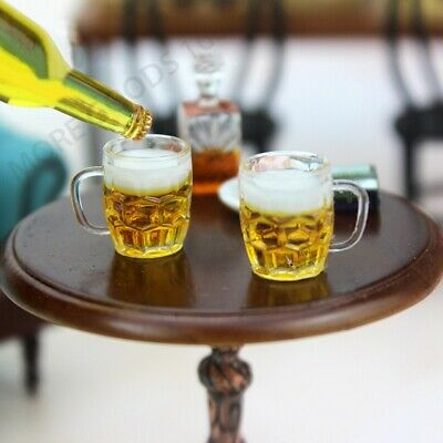 Mini 2pcs Beer Glass Mug 1:12 Dollhouse Accessories Kitchen Decor Toy for Child