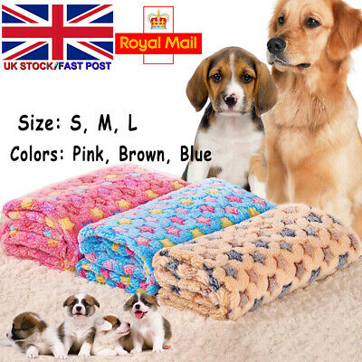 Warm Pets Mat Small Large Paw Print Cat Dog Puppy Fleece Soft Blanket Cushion