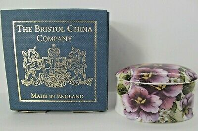 The Bristol China Company Floral Lidded Trinket Box Small Bone China England Box