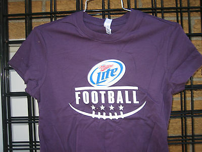 (M) Ladies Miller Lite Beer T Shirt FOOTBALL BELLA top NFL Colllege MD Bar keep