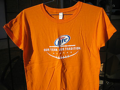 ( M) Ladies Miller Lite Beer T Shirt FOOTBALL  Bar Waitress staff NFL Colllege
