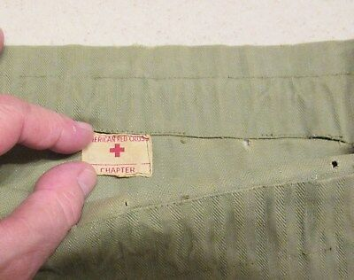 US Army Medical Corps Red Cross HBT OD Green Bag missing Drawstring WWII WW2