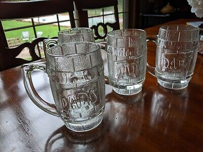 Dad's Root Beer Very Heavy Glass Mugs With Handles - Set Of Four
