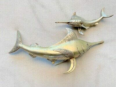 "2 used sword fish marlin FISH aged BRASS bill hollow statue bronze patina 12"" 6"""